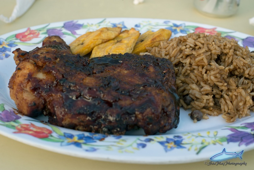The best bb1 chicken, peas and rice, and fried plantains EVER